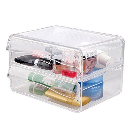 Alanda Makeup Cosmetic Organizer Acrylic Cosmetic Storage Box for Jewelries Eye Shadows Powders Lipsticks