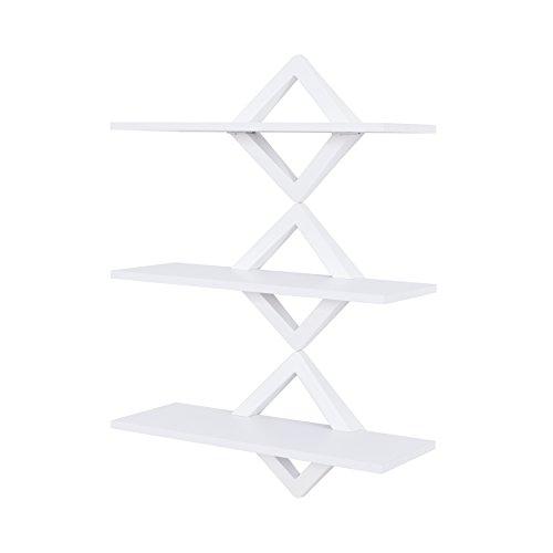Danya B Diamonds 3-Level Shelving System - Decorative Floating Shelves -Wall Mount - White