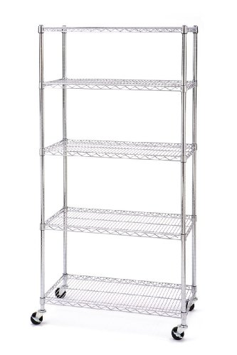 Seville Classics 5 Shelf 18-Inch by 36-Inch by 72-Inch Shelving System with Wheels NSF