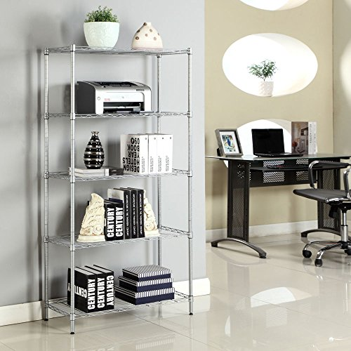 Bonnlo 5- Tier Wire Shelving Unit Adjustable Storage Rack Carbon Steel Utility Rack Storage Organization for Home Kitchen Living Room Bedroom Bathroom Laundry Office Silver 29x13x59 Inches