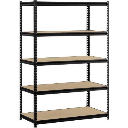 Muscle Rack TRK-361860W4 Depth Steel Shelving Unit 4-Shelf 36 Width x 60 Height x 18 Black 48W x 24D x 72H Black