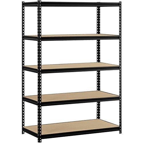 Utility Shelves Muscle Rack 48W x 24D x 72H 5-Shelf Steel Shelving Black