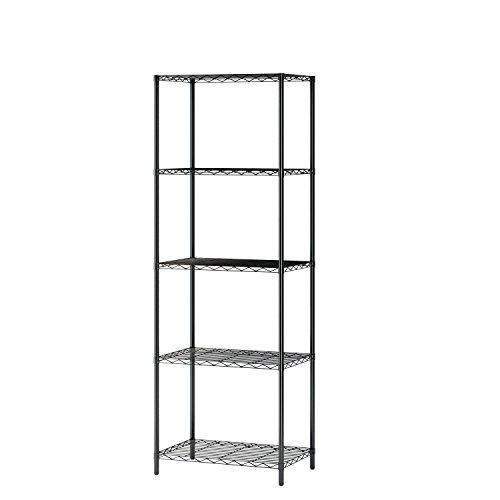 "Homebi Wire Shelving Unit 5 Shelf Metal Storage Rack Durable Organizer with 5-Tier Wire Shelf in Black21""Wx14""Dx61""H"