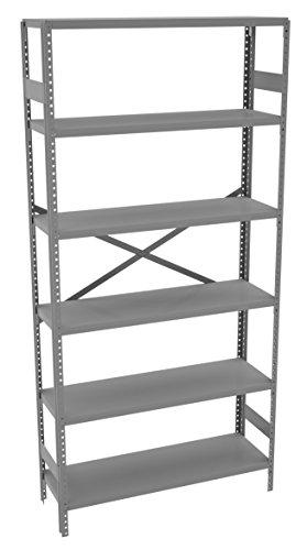 Tennsco ESP-6-1236 Commercial Shelving Unit 6 Shelves5 Openings 250 lb Capacity per Shelf 36 Width x 75 Height x 12 Depth Medium Grey