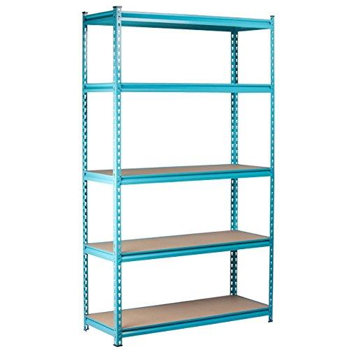 Kings Rack 5-Tier Sky Blue Steel Storage Rack Boltless Shelving Tier Height Adjustable 48 W x 24 D x 72 H