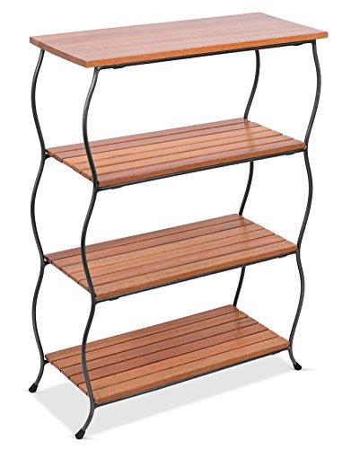 BirdRock Home Industrial 4-Tier Shelving Unit  Wooden Freestanding Shelves  Decorative Living Room Shelf