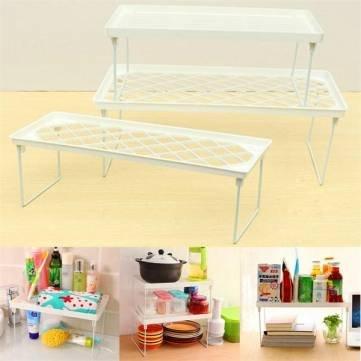 Plastic Foldable Storage Racks Home Bathroom Closet Kitchen Shelving Shelf Holders Organizer