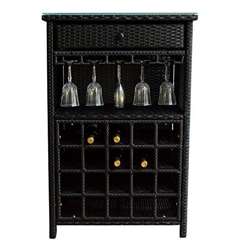 Wine Bar Wicker Storage 20 Bottle Holder Glass Hanger Stemware Rack Liquor Shelves Buffet Cabinet Home Decor Furniture Display Kitchen Shelving Glass Top