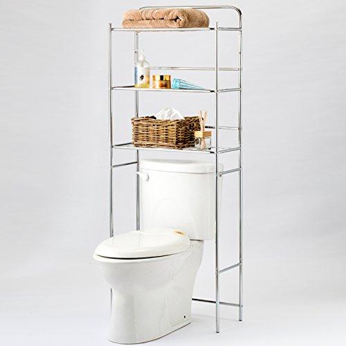 3 Tier Chrome Plated Metal Over-the-Toilet Bathroom Storage Rack Space Saver Standing Shelf