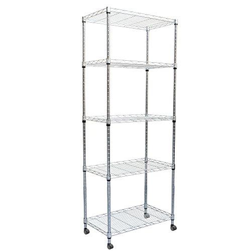 Mind Reader 4 Tier Metal Storage Rack Shelving Unit With Wheels Silver