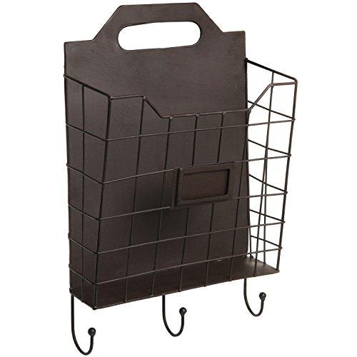 Vintage Wall Mounted Rustic Metal Wire Magazine Storage  Organizer Basket Rack w Coat Hooks - MyGift