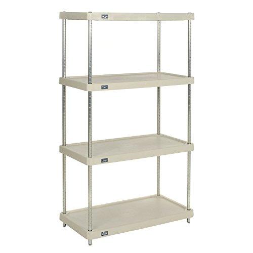 Nexel 4-Shelf  Solid Plastic Shelving Unit With Clear Epoxy Posts 18W x 36L x 74H