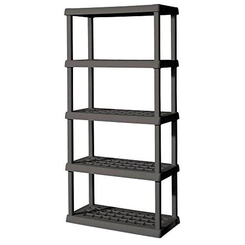Sterilite 5-Shelf Plastic Shelving Unit  36 in W x 75125 in H x 18 in D