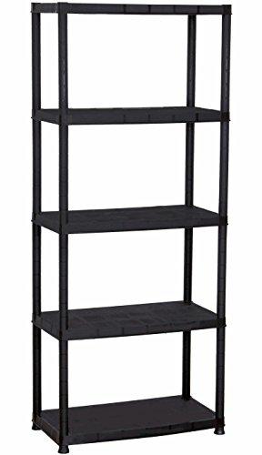 Plascoline Platin 5-Shelf Plastic Storage Shelves with Floor Risers 267 W x 153 D x 675 H