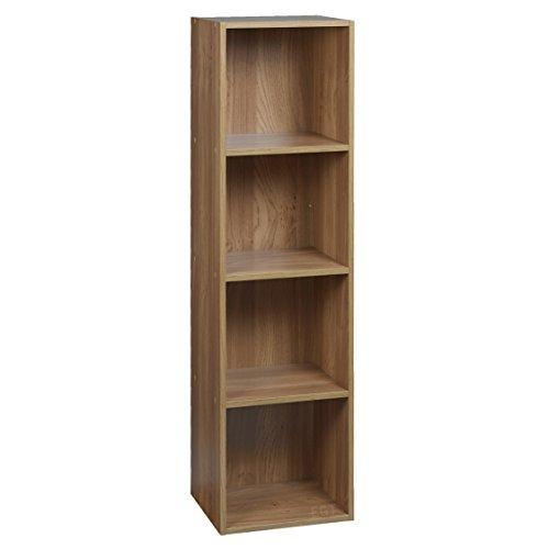 URBN LIVING 1 2 3 4 Tier Wooden Shelving Bookcase Storage Wood Shelf Unit 4 Tier Oak