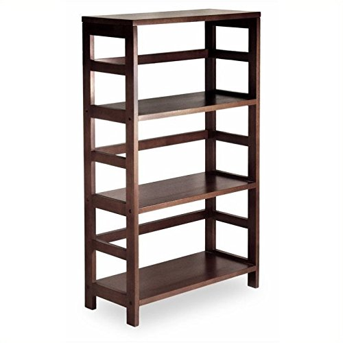 Winsome Wood 3-Shelf Wide Shelving Unit Espresso