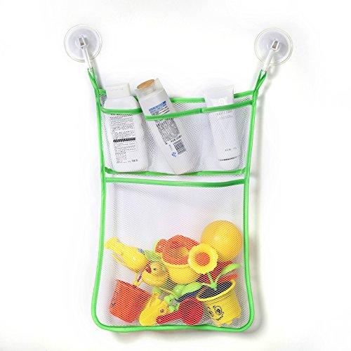 Hoojee Bathroom Mesh Net Storage Bag Kids Baby Bath Bathtub Toy Shampoo Organizer Holder Pockets Shower Caddy Bag with Strong Suction Cups For HomeGreen