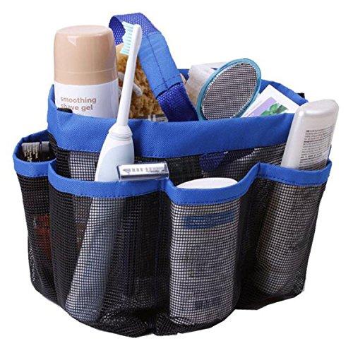Mesh shower tote caddy - 8 Pocket Shower Caddy Tote Bag for Bathroom Organizer dorm Gym Travel Blue