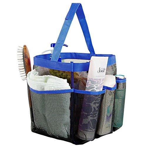 Shower Tote Iwotou 8 Pockets High Capacity Quick Dry Hanging Mesh Bath Toiletry Shampoo Soap Organizer Portable College Dorms Gym Camp Travel Shower Caddy Bag Blue