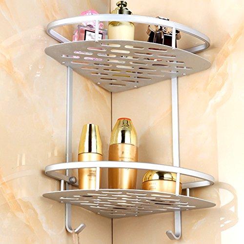ISELL Tier Bathroom Shelf Corner Rust-Proof Aluminum Alloy Bathroom Storage Collection Corner Wall Mounted Shower Shelf Caddy Double