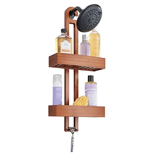 mDesign Bathroom Shower Caddy with Storage Baskets and Hooks for Shampoo Sponges Razors Loofahs Soap – Cherry Bamboo