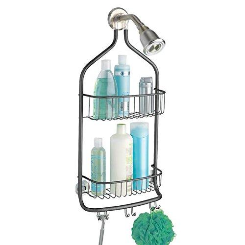 mDesign Shower Caddy Storage for Shampoo Conditioner Soap - - Large Matte Black