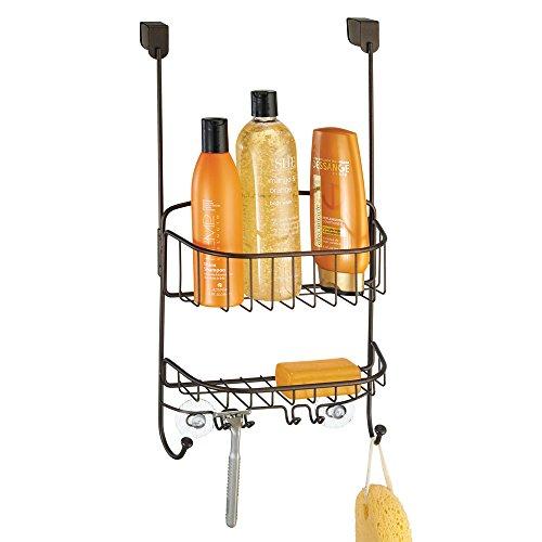 mDesign Bathroom Over Door Shower Caddy for Shampoo Conditioner Soap - Bronze