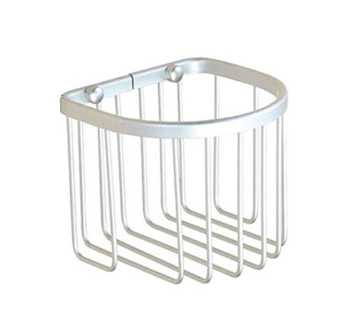 niceeshopTM Multi-fonction Alumimum Wall Mounted Toilet Paper Holder Basket Silver Set of 11