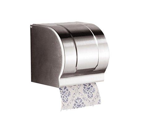 Cavoli Toilet Paper Holder and Dispenser with CoverWall MountStainless SteelChromeSmall
