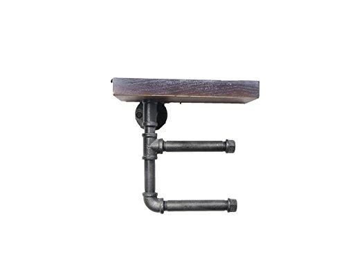 Find Joy Industrial Retro Wood Pipe Metal Wall Mounted Bathroom Shelf Double Toilet Paper Roll Holder