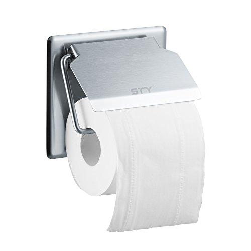 Toilet Paper Holder STY Toilet Paper Towel Roll Brush Holder Wall Mount Tissue 304 Stainless Steel with Shelf for Bathroom