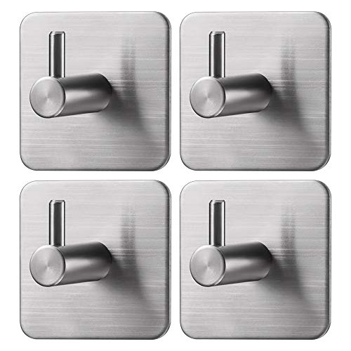 Jekoo Adhesive Hooks Wall Hanger Towel Hooks Heavy Duty Hooks for Hanging Ideal for Bathroom Shower Kitchen Home Door Closet Cabinet Stainless Steel - 4Packs