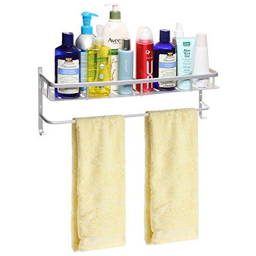 Modern Silver-Tone Brushed Metal Wall Mounted Bathroom  Kitchen Storage Shelf Rack Towel Bar - MyGift