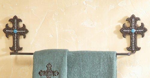 Turquoise Cross Metal Southwestern Towel Bar - Southwestern Bath Decor