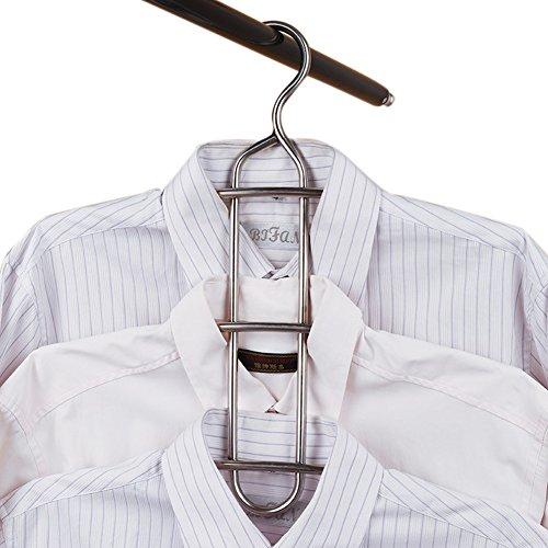 DOIOWN Multipurpose Stainless Steel Closet Hangers Blouses Shirt Dresses Scarf Hangers Organizer Set of 3 Non-slip 3-Pieces