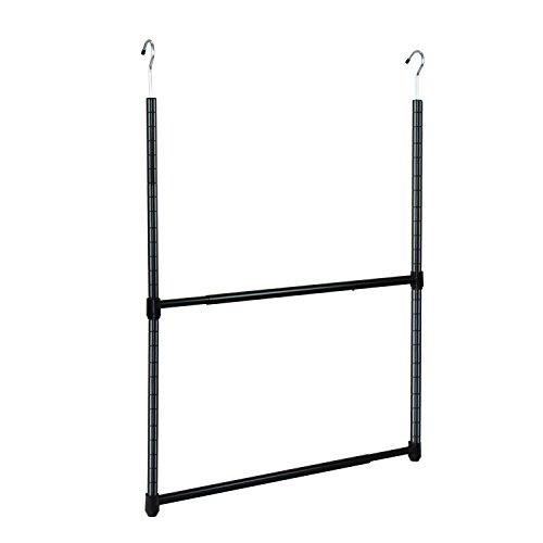 Oceanstar 2-Tier Portable Adjustable Closet Hanger Rod Black