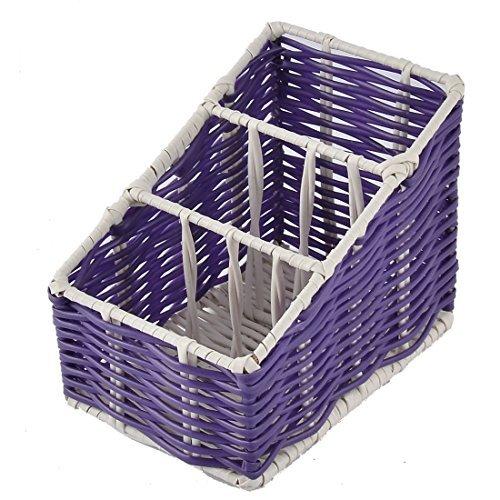 DealMux Plastic Kitchen Desk 3 Grids Organizer Storage Box Case Basket Purple