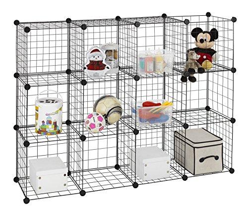 Finnhomy 12 Storage Cubes Multi Use DIY Wire Grid Organizer Closet Organizer Shelf Cabinet Wire Grids Panels Garage Storage Rack Sets Shelving Units for BooksPlantsToysShoesClothes Black