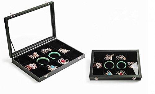 Glass Top 12 Grids Black Jewelry Holder Organizer Box Storage Case