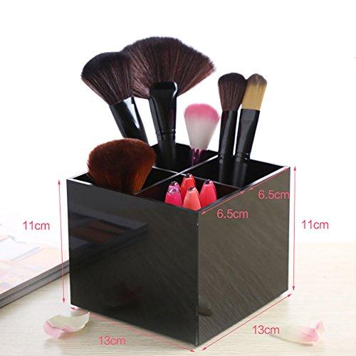 Jukaitai Acrylic Four Grid Makeup Brush Cosmetics Organizer Storage Box with White Pearls