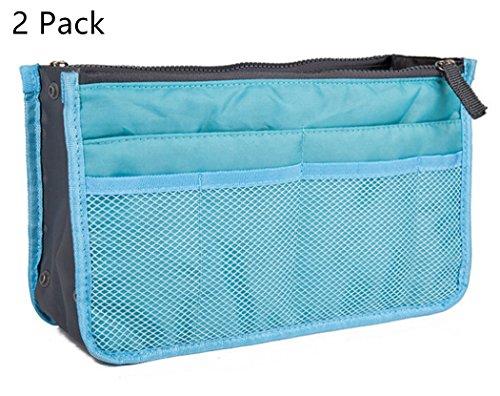 2 Pack Purse Organizer Insert Liner Pouch Handbag Organizer Bag in Bag 13 Pockets blue