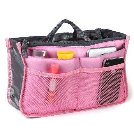 Medium Purse Organizer Insert For Handbag or Pocket Book - Clutter Control 1 Light Pink