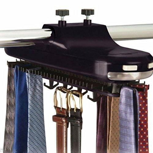 Closet Mounted Rack Holder- Tie Belt Necktie rotates 64 pic Hanger hang Organizer