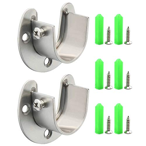 SDTC Tech 1 Inch Flange Rod Holder Heavy Duty Stainless Steel Closet Rod End Supports Wardrobe Pole Socket Bracket with Matching Screws Silver - 2 Pack