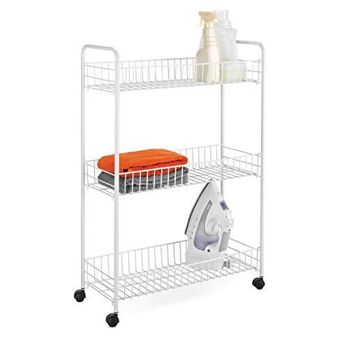 3-Tier Rolling Laundry Cart White Wire Shelf Organizer Basket Shelves Utility