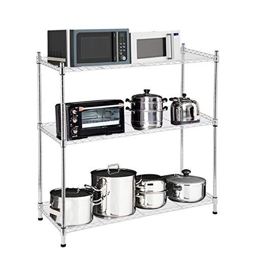 Lookvv 3 Tier Food Service Storage Rack Shelves White Wire Shelf Standing Shelf Units Silver