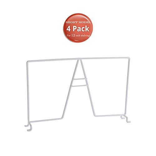 TitanSecure 4 Pack New Short 7 Inch Height White Wire Shelf Dividers for Closets - Short Model for Shoes Hats Purses Renewed