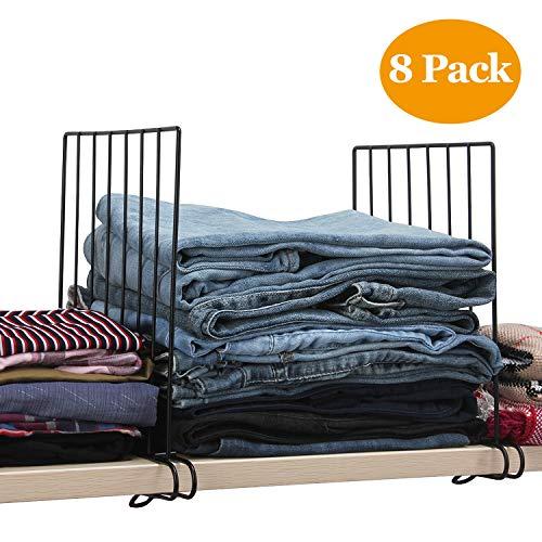 DOIOWN Shelf Dividers for Closet 8Pcs Wood Shelf Divider Separator Organizer for Closet Office Shelf Library Shelf 8 Pack-Black