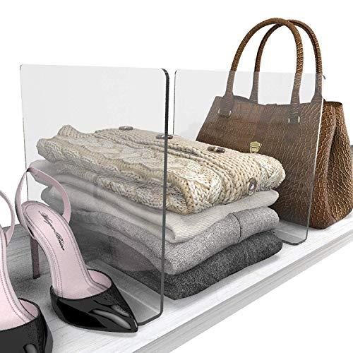 HomeForEach Closet Organizer Shelf dividers for Closets Cabinet Organizer Storage Organization Anti Slip Fit for Any Thickness of Shelves 2pcs