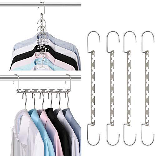 Giftol Space Saving Hangers Metal Hanger Magic Cascading Hanger Closet Clothes Organizer4 Pack
